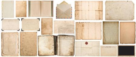 Photo for Paper sheet, book, envelope, cardboard, photo frame with corner isolated on white background. Big paper texture set - Royalty Free Image