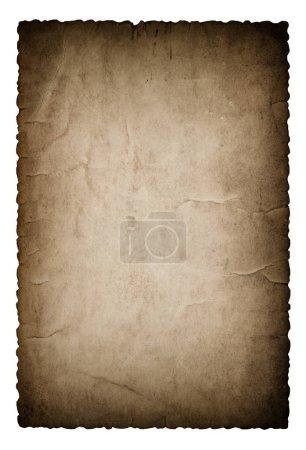 Photo pour Papier usagé avec bords isolés sur fond blanc. Carton noir déchiré vintage - image libre de droit