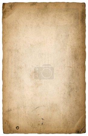 Photo pour Feuille de papier usagé avec bords isolé sur fond blanc. Vintage déchiré par carton - image libre de droit