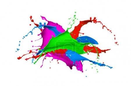 Photo pour Peinture colorée splash isolée sur fond blanc. Abstrait coloré aux éclaboussures. Éclaboussures de peinture multicolore. - image libre de droit