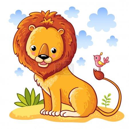 cute  lion  and bird