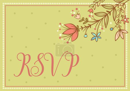 Illustration for RSPV invitational card with floral illustration - Royalty Free Image