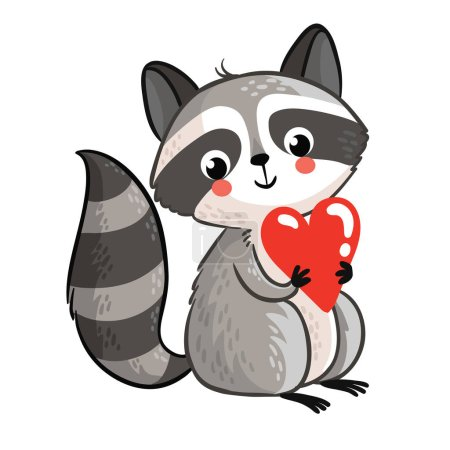 Cute raccoon holding heart