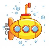 Submarine with air bubbles