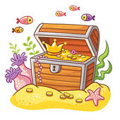 Chest with coins and crown on sea bottom with fish and seaweeds around