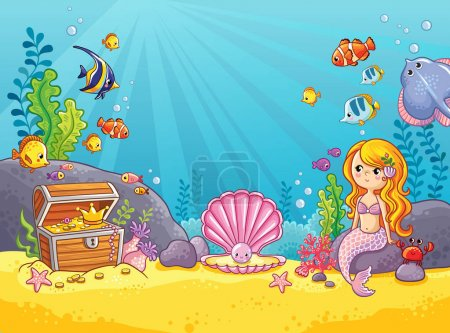Underwater world in a children's style