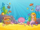 Underwater world in a children's style