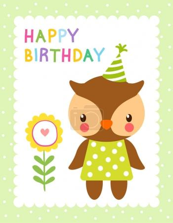 Greeting card with cute owl
