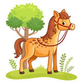 Cartoon horse standing in clearing Vector background with farm animal