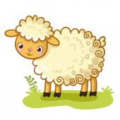 Curly sheep stands on glade Animal in cartoon style Cute vector lamb
