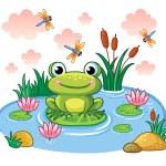 Frog sits on leaf in pond. Vector illustration in ...