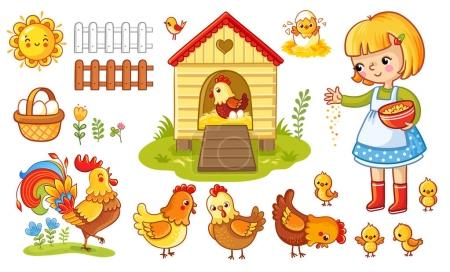 Farm chicken scene. Vector set with chicken and gi...