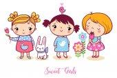 Cute cartoon girls set