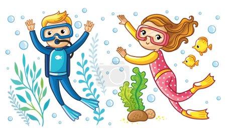 Boy and girl swim under water