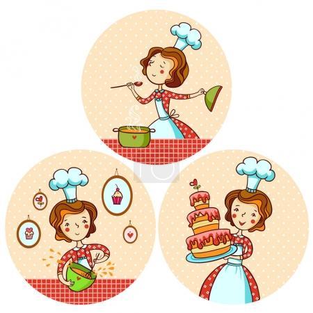 Illustration pour Ensemble avec cuisine fille. Soupe de cuisine féminine. Une fille qui fait du gâteau. Illustration vectorielle dans le style dessin animé . - image libre de droit