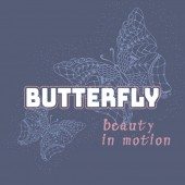 Stylized butterflys with text vintage illustration pattern on a dark blue background Applique print for textile clothes in fashion luxury design Slogan graphic for t-shirts in vector