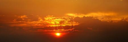 Beautiful sunrise and cloudy sky.Wide photo ....