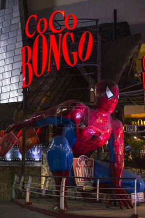 Giant Spiderman figure in front