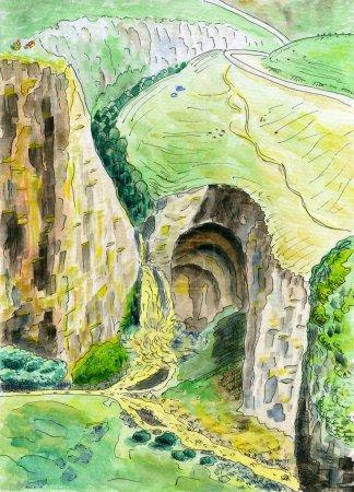 Photo pour Aquarelle. Paysage de montagne coloré. Le canyon de la rivière et la cascade. Prairies alpines et une grande grotte dans la roche. La route serpente à travers les collines . - image libre de droit