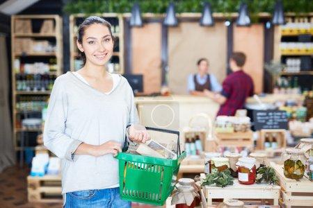 Happy customer in supermarket