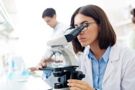 Portrait of chemist or scientist looking in micros...
