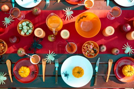 Halloween table with traditional festive food