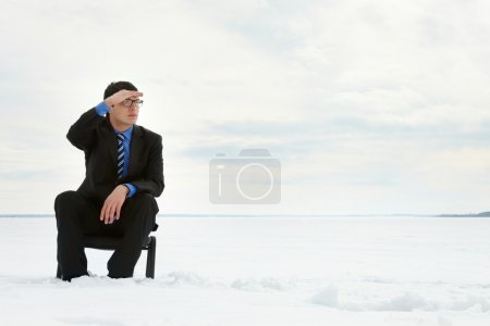 Businessman looking at the horizon