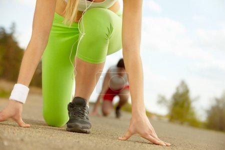 strong girl's legs ready to run