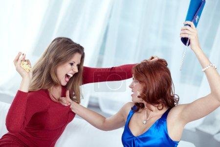 Furious women fighting cruelly
