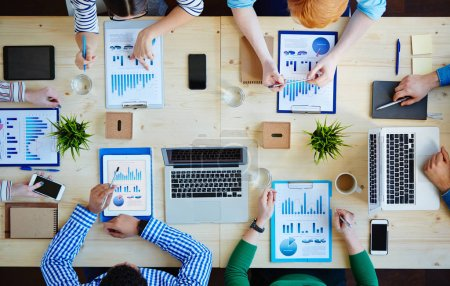 Accountants analyzing financial information