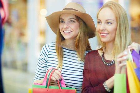 Shopaholics spending leisure in trade center