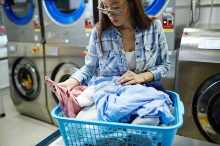 Photo pour Jeune blanchisseuse à la recherche à travers les vêtements dans le panier au travail - image libre de droit