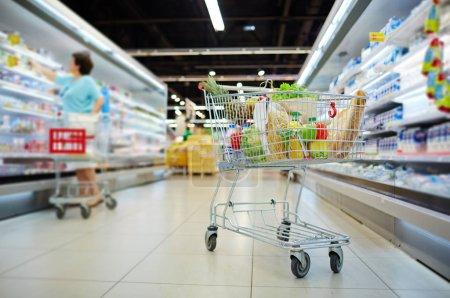 Shopping cart full of grocery