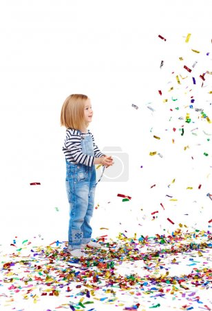Adorable Girl with confetti