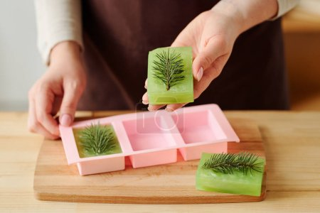 Photo for Hands of girl holding green fresh handmade soap bar with conifer on top after taking it out of silicone mold - Royalty Free Image