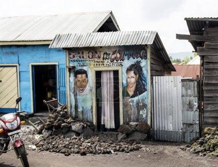 Local hairdressing salon, in Democratic republic of Congo