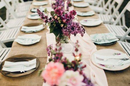 Wedding reception. Beautiful decoration of table