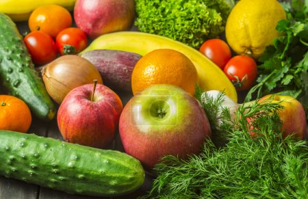 Photo for Assorted different fruits and vegetables as background. Healthy eating. Vegetarian food. - Royalty Free Image