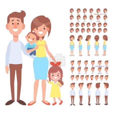 Illustration for Front, side, back view animated characters. Parents character creation set with various views and face emotions. Cartoon style, flat vector illustration. - Royalty Free Image