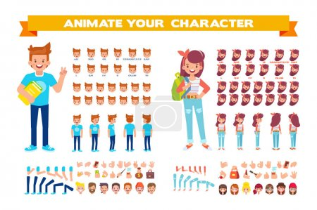 Illustration for Front, side, back view animated characters. Male and female Students creation set with various views, hairstyles, face emotions, poses and gestures. Cartoon style, flat vector illustration. - Royalty Free Image