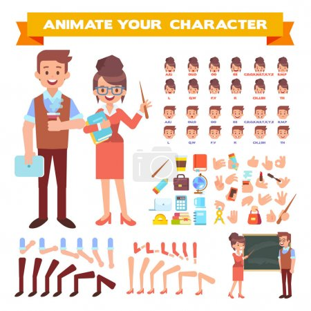Illustration for Female and male teachers creation set. Front, side, back, 3/4 view animated character. Separate parts of body. Constructor with various views, lip sync and gestures. Cartoon style, flat vector illustration. - Royalty Free Image
