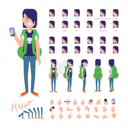Illustration for Front, side, back view animated character. Male Student character creation set with various views, hairstyles, face emotions, poses and gestures. Cartoon style, flat vector illustration. - Royalty Free Image