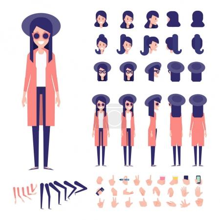 Illustration for Front, side, back view animated character. Woman character creation set with various views, hairstyles, face emotions, poses and gestures. Cartoon style, flat vector - Royalty Free Image