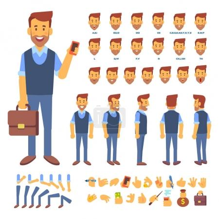 Illustration for Front, side, back view animated character. Male manager character creation set with various views, hairstyles, face emotions, poses and gestures. Cartoon style, flat vector illustration. - Royalty Free Image