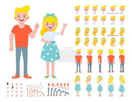 Illustration for Front, side, back view animated characters. Young guy and girl characters creation set with various views, lip sync, gestures, poses. Cartoon style, flat vector illustration. - Royalty Free Image