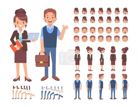 Illustration for Front, side, back view animated character. Business woman and man character creation set with various views, lip sync, poses. Cartoon style, flat vector illustration. - Royalty Free Image