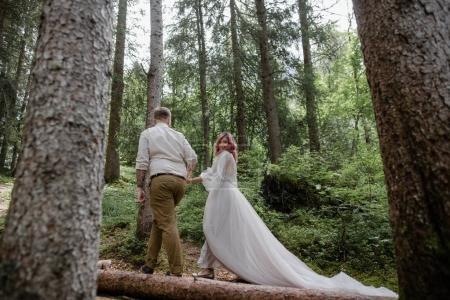 Photo pour Belle jeune mariée et marié tenant la main et marchant ensemble dans la forêt dans les Alpes - image libre de droit