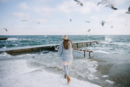 Photo for Back view of young woman walking on winter seashore with seagulls - Royalty Free Image
