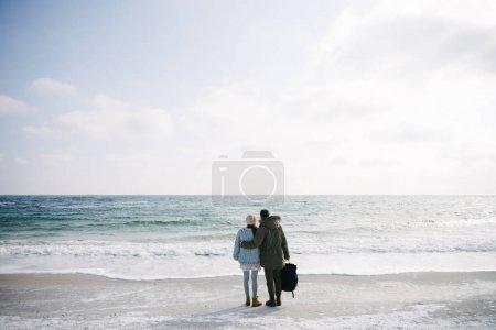 Foto de Vista trasera del pareja joven abrazos y parado en la orilla del mar de invierno - Imagen libre de derechos