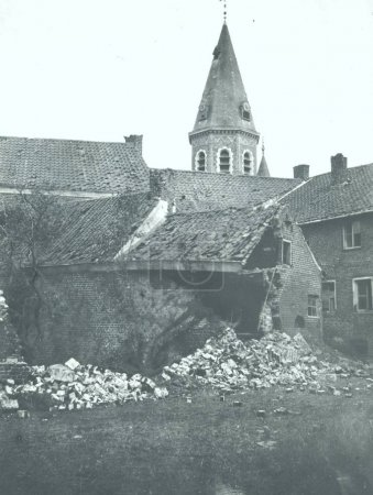 Damaged house in village after bombing